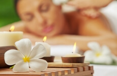 woman in a spa being pampered